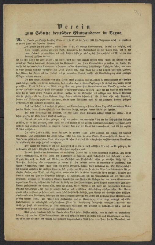 [Society for the Protection of German Immigrants in Texas, promotional letter]