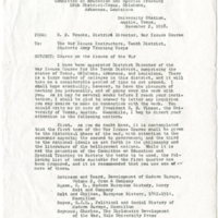 Letter recommending textbooks for War Issues Course, dated Nov. 2, 1918