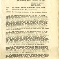 Letter regarding voluntary continuance of War Issues Course, dated Dec. 12, 1918